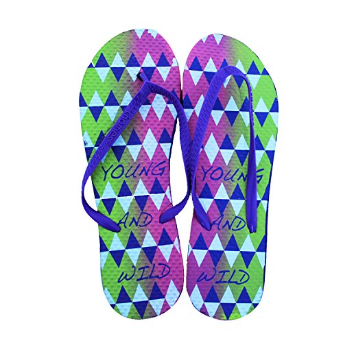 Chatties Womens Casual Purple Rubber Flip Flops Slippers, Triangles Print