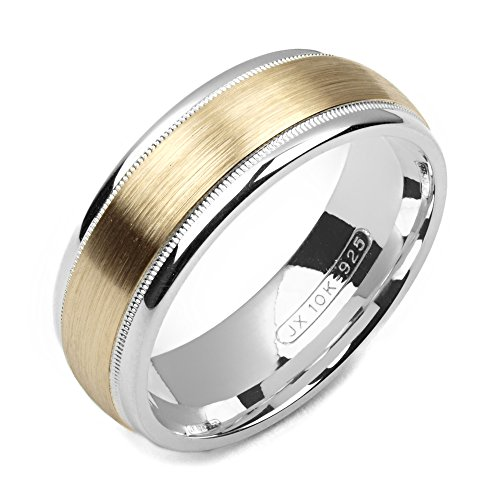 Alain Raphael 2 Tone Sterling Silver and 10k Yellow Gold 7 Millimeters Wide Wedding Band Ring 14k Yellow Gold Sandblast