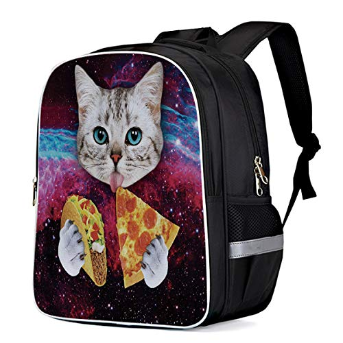 Cool School Backpack Cat Eating Pizza Galaxy School Book Backpack for Teens Boys Girls, Kitten Carry Bag Durable Laptop Computer Bag for Day Trips Mountain Sports (Large)
