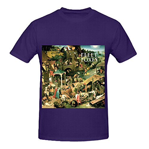 Price comparison product image Fleet Foxes Fleet Foxes Funk Mens Crew Neck Casual Tee Shirts Purple