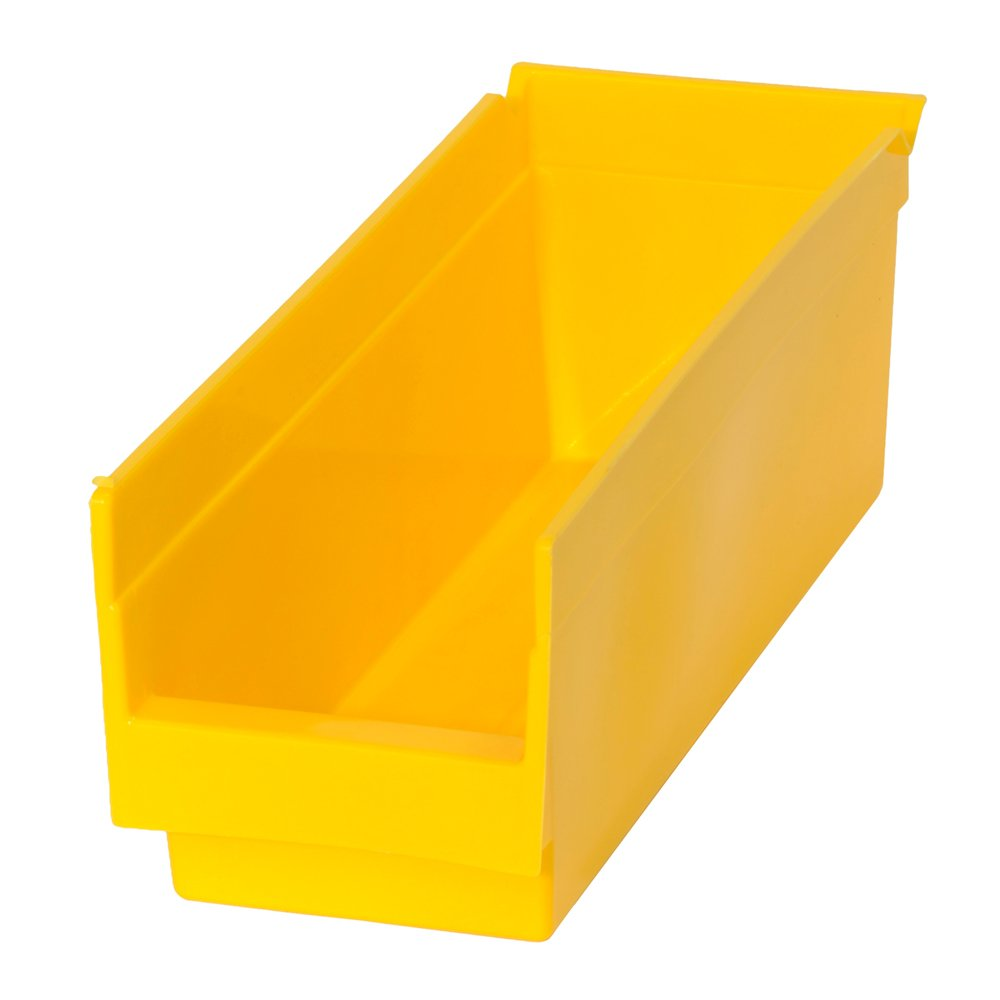 Edsal PB300 Heavy Duty Plastic Bin, 4'' Width x 4'' Height x 12'' Depth, Yellow (Pack of 48 )