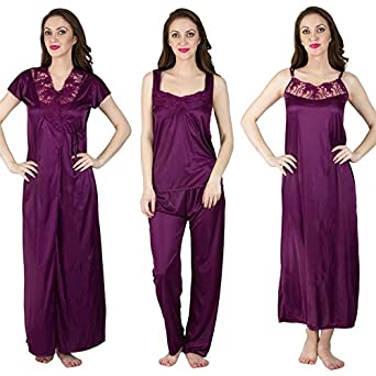 5479e7674a MILIT Honeymoon Satin Nighty with House Coat