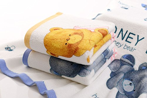 ANswet 2 Bath Towels New Style Cotton Printing Soft Cotton Like Bath Towel Sets Washcloths Super Water Absorbent Soft Honey Bear 2Pieces 27.5X55 inches Bath Towel(Mixture)