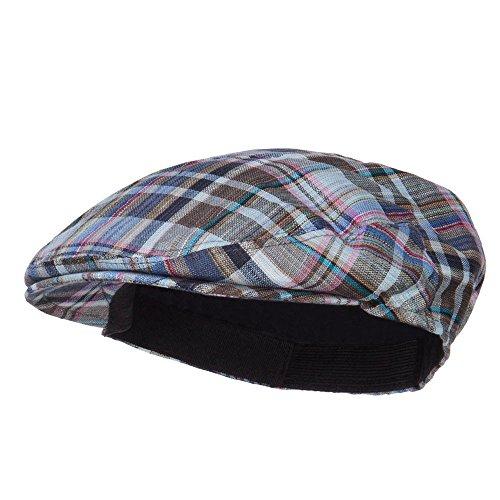 Linen Plaid Cap (Boy's Plaid Linen Ivy Cap - Blue OSFM)