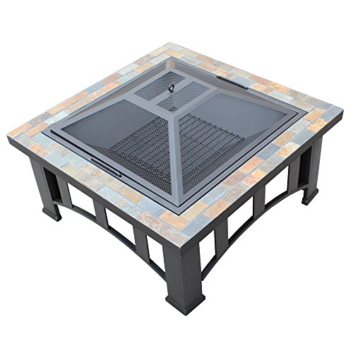 30-inch Square Slate Table Fire Pit Great for Outdoor Yard and Patio, Metal