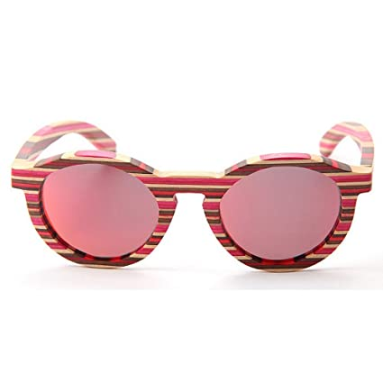 Marco de bambú hecho a mano gafas de sol polarizadas para mujer Rayas de color Ojos