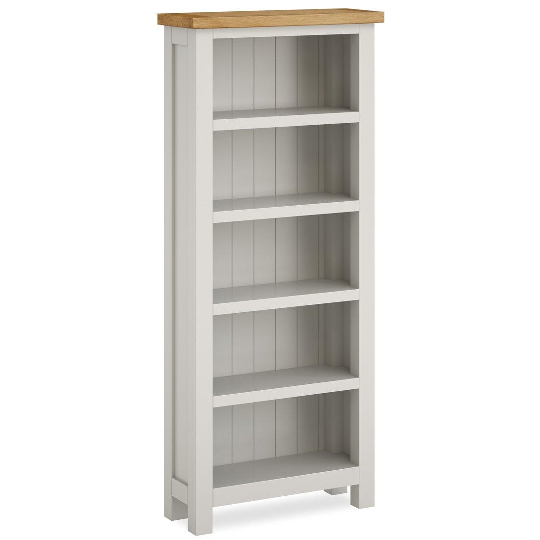 Farrow Painted Slim Bookcase / Stone Grey Bookcase / Oak Top / Assembled:  Amazon.co.uk: Kitchen & Home - Farrow Painted Slim Bookcase / Stone Grey Bookcase / Oak Top