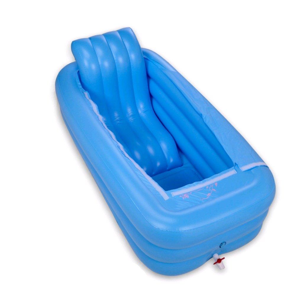 WXFC Vasca da bagno in plastica per Vasca da bagno pieghevole con isolamento gonfiabile Vasca da bagno per adulti, Blue