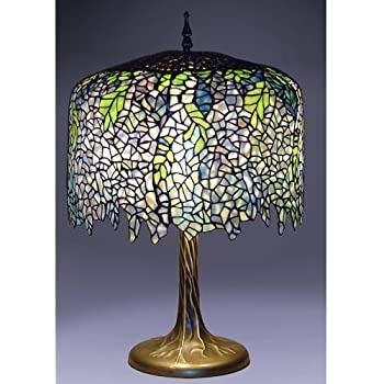 Blue wisteria tiffany style table lamp with tree trunk base blue wisteria tiffany style table lamp with tree trunk base aloadofball Image collections
