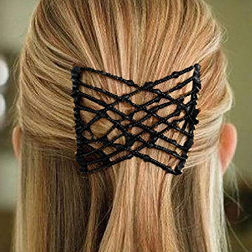 Halloween Clearance, Bead Stretchy Women Hair Combs Double Magic Slide Metal Comb Clip Hairpins (Black)