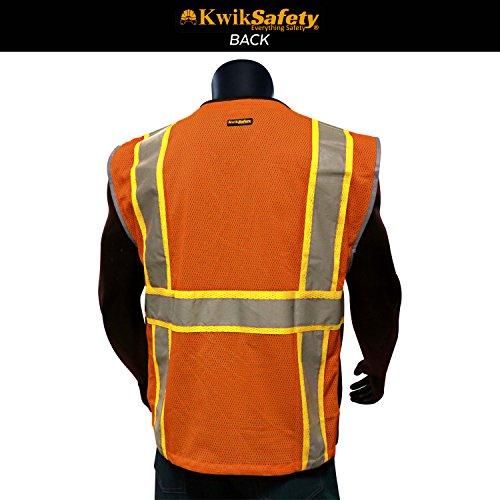 KwikSafety CLASSIC Safety Vest | Class 2 ANSI OSHA PPE | High Visibility Reflective Stripes, Heavy Duty Mesh with Pockets and Zipper | Hi-Vis Construction Work Hi-Vis Surveyor | Orange S/M by KwikSafety (Image #2)