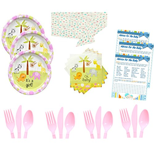 Girl Page Kit (It's a Girl Baby Shower Party Kit for 16 - Plates, Napkins, Cutlery, Tablecloth, Fun Baby Advice Game Pages - Babyshower Kit for Girls Bundle, Decorations & Sprinkle Party Supplies)