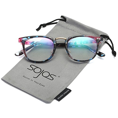 SojoS Square Reading Glasses Optical Frame Clear Lens Eyewear Eyeglasses for Men and Women SJ6005 With Blue Flowers - Frames Of Styles New Eyeglasses