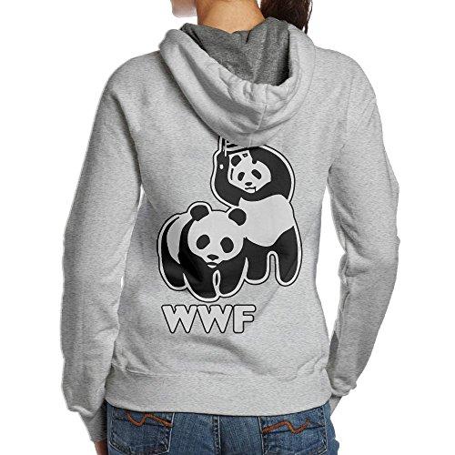 LXMHHoodie WWF Funny Panda Bear Wrestling Womens Hoodies Back Print Pullover Hood by LXMHHoodie