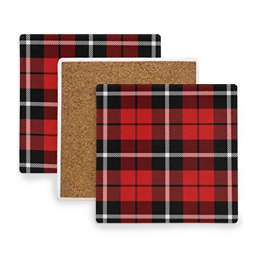 - Christmas Tartan Red Plaid Ceramic Coasters for Drinks,Square 4 Piece Coaster Set