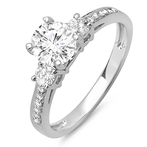 Womens Diamond Semi Mount (0.33 Carat (ctw) 14k White Gold Round Diamond Ladies Bridal Engagement Semi Mount Ring 1/3 CT (No Center Stone) (Size)