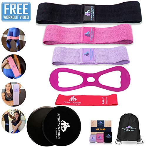 Fabric Resistance Bands(3pcs)for Booty/Hip/Legs/thighs Exercise, Mini Resistance Band(1pc), 8Shape Elastic Booty Band(1pc), Core Sliders Discs(2), Full Body Workout Set for Women, Online Workout Video