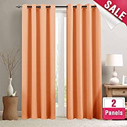 Room Darkening Curtains for Bedroom 63 in Length Moderate Blackout Curtains for Kids Room Triple Weave Window Curtains for Living Room Grommet Top Drapes, 1 Pair, Orange