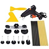 PDR Tools Bridge Puller Set ,Mookis 14PCS Pops-a-dent Paintless Dent Removal Repair Tools Kit with Glue Gun Hot Glue Sticks and Plastic Scraper
