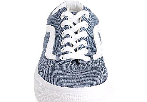 Vans Old Skool, Baskets Femme Bleu (Jersey)