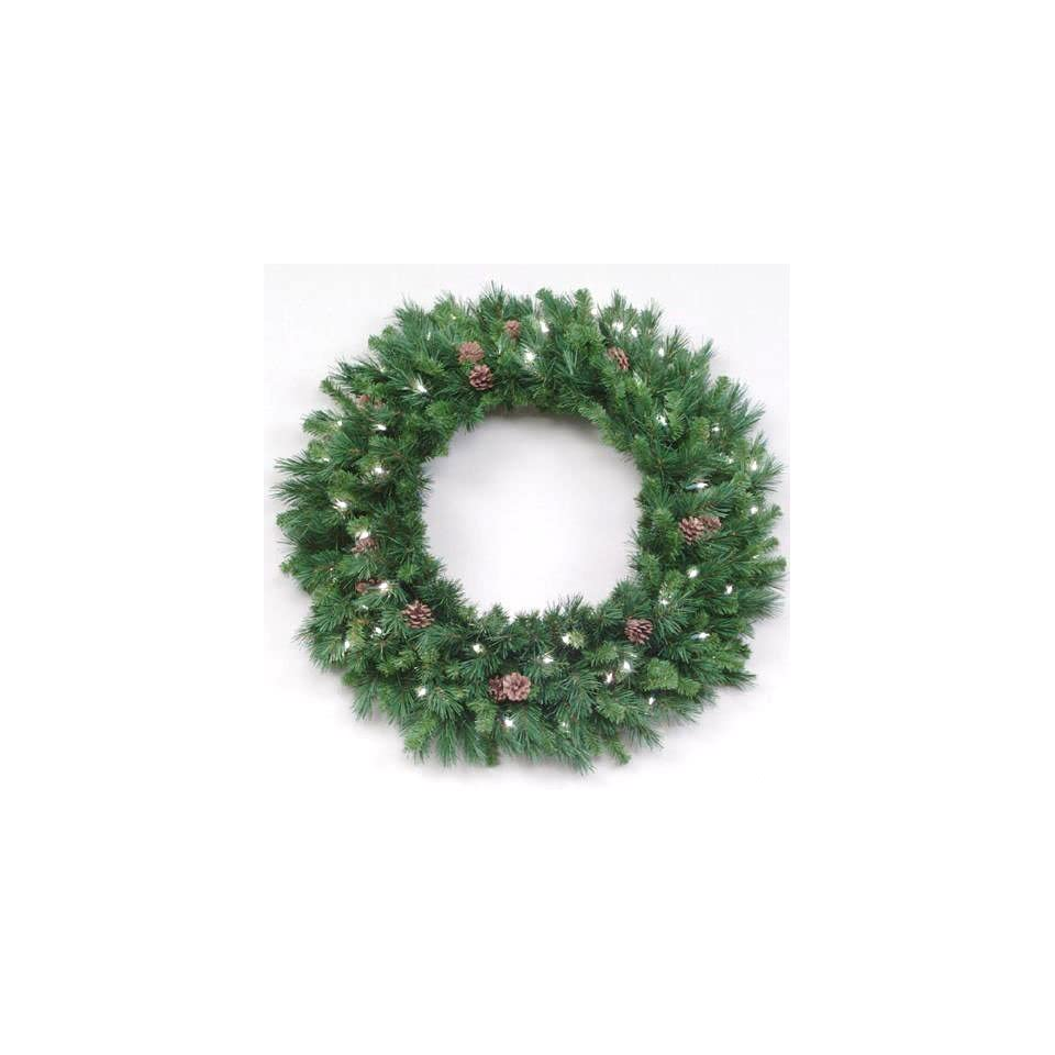 30 Pre Lit Cheyenne Pine Artificial Christmas Wreath   Clear Lights