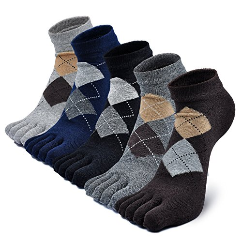 Mens Toe Socks Cotton Athletic Running Five Finger Crew Socks (one size 7-11, mixcolor-5 pairs)