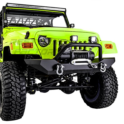 Restyling Factory 97-06 Jeep Wrangler TJ Rock Crawler Black Textured Front Bumper with Winch Mount Plate and 2x D-rings (Black)