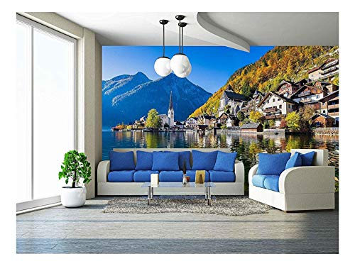 wall26 - Scenic Picture-Postcard View of Famous Hallstatt Mountain Village - Removable Wall Mural | Self-Adhesive Large Wallpaper - 66x96 inches ()
