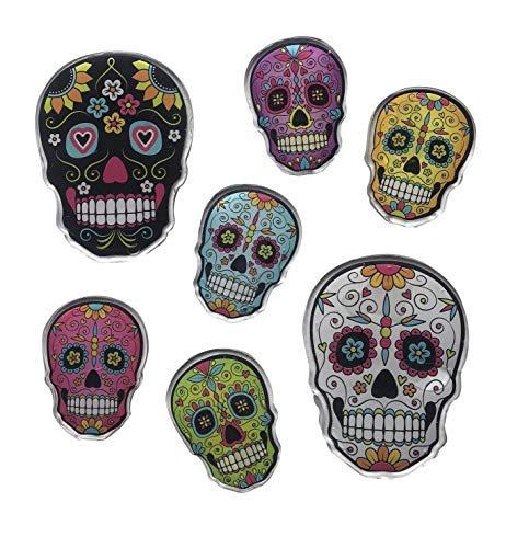 Window Clings Sugar Skulls Gel Decorations, Use for Halloween, Dia De Los Muertos, or All Year Long