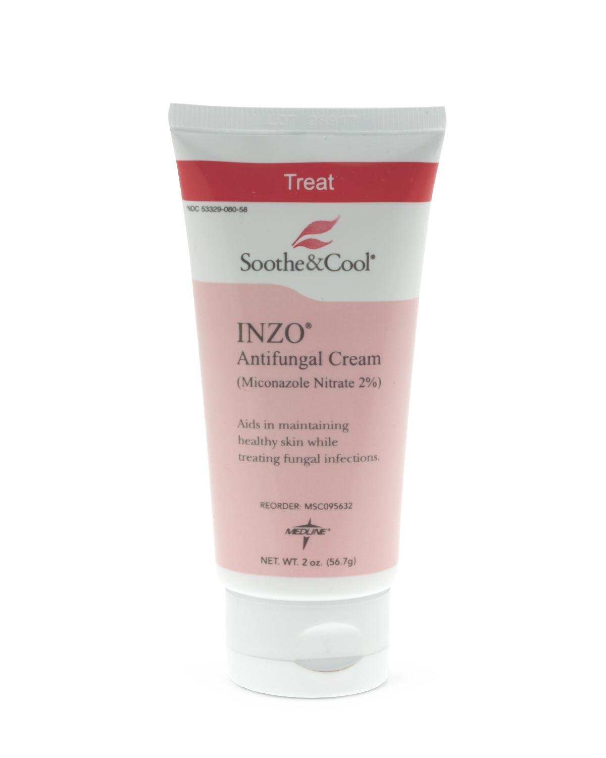 Medline MSC095632 Soothe & Cool INZO Antifungal Cream, White (Case of 24)