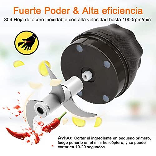 bedee Picadora Eléctrica, Picadora de Alimentos, 250ML Picador de Ajo Trituradora de Alimentos con USB Recargable, Food Processors para Cocina y Alimentos para Bebés (3 Cuchillas * 2 + Cepillo Copa)