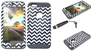CellTx Shockproof Hybrid Case For Apple (iPhone 6 Plus) and Stylus Pen, Gray Soft Rubber Skin with Hard Cover (Chevron, Waves, Black, White) AT&T, T-Mobile, Sprint, Verizon, Boost Mobile, U.S Cellular, Cricket by Maris's Diary