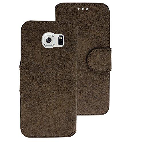 Handy Schutz Tasche Geldbeutel Hülle Flip Case Etui Samsung Galaxy S6 Braun