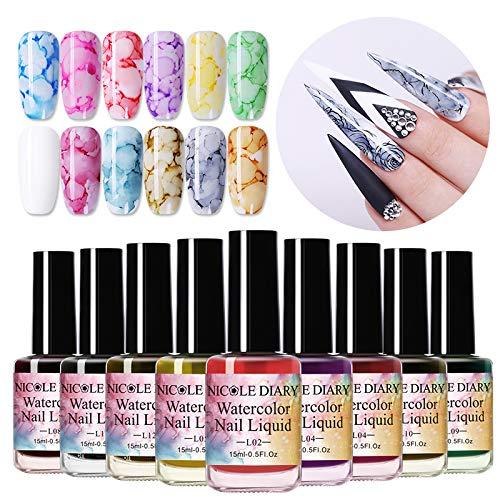 NICOLE DIARY Blooming Nail Polish Blossom Nail Varnish Watercolor Marble Nail Ink Gel Flower Nail Art Varnish DIY Design(15ml, 12 colors)