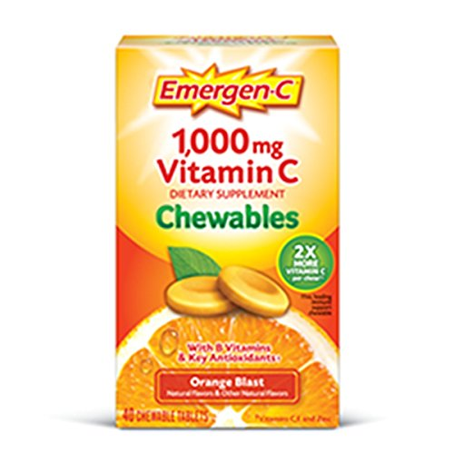 Emergen-C Chewable (40 Count, Orange Blast Flavor) Dietary Supplement Chewable Tablet with 1000mg Vitamin C & Vitamin B6, Energy, Antioxidants (C Vitamin C Emergen)