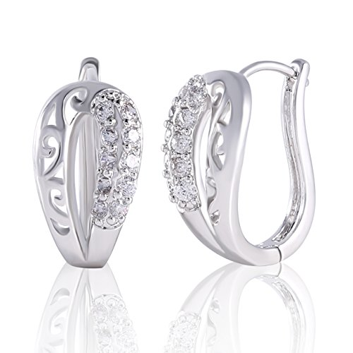 - Yves Renaud Unique U Shaped White Gold Plated Hoop Earrings with Sparkling White Sapphires Crystal Set - Nickel Free Hypoallergenic Pave Fashion Jewelry for Women