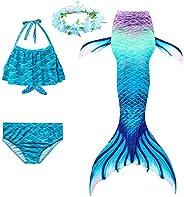 XICHONG Girls Swimming Mermaid Tail Swimwear Mermaid Swimsuit Children's Swimwear Kids Garland