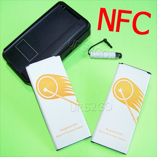 High Power Samsung Galaxy Note 4 Battery kit [2Battery + 1Charger] 4900mAh Spare Rechargeable Li-ion NFC Battery Portable USB Charger for Samsung Galaxy Note 4 SM-N910R4