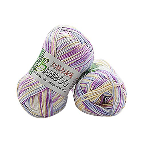 Molyveva Assorted Colors Bonbons Yarn Skeins - Soft Tencel Bamboo Cotton Yarn Skeins - Perfect for Any Knitting and Crochet Mini Project - 1 Piece (Colorful)