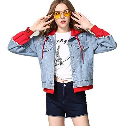 Fashion Largo Splice De Manga Chaqueta Rot Elegante Otoño Vaquera Ropa Outwear Mujer Carta Abrigos Deportiva Casual Jeans Encapuchado Impreso Primavera Niña Abrigo 0nE8XwXx