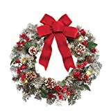 Lighted Holiday Frosted Pine Christmas Wreath Garland (Small Image)