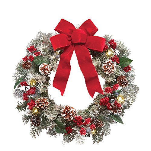 Lighted Holiday Frosted Pine Christmas Wreath Garland (Large Image)