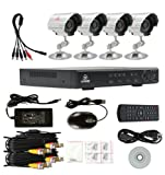 CCTV 4CH Surveillance Security System DVR with 4 Waterproof Outdoor indoor Sony CCD Cameras 15M IR with Night Vision Support Email Alarm Motion Detected Smartphone View