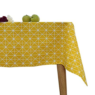 """ColorBird Geometric Series Tablecloth Diamond Pattern Cotton Linen Dust-Proof Table Cover for Kitchen Dinning Tabletop Linen Decor (Rectangle/Oblong, 55 x 102 Inch, Yellow) - Delicate Printing: Featuring classic geometric diamond pattern on high quality cotton linen, this ColorBird elegant modern tablecloth will make your meal time more luxurious Super Soft Fabric: 100% cotton linen, eco-friendly/stain resistant; Measures 55"""" Width x 102"""" Length (140 x 260 cm), size deviation is between 1 to 2 inch Easy to Care: Machine washable, hand wash best; Hang to dry; Low iron; Don't bleach - tablecloths, kitchen-dining-room-table-linens, kitchen-dining-room - 51rGRvO2yEL. SS400  -"""