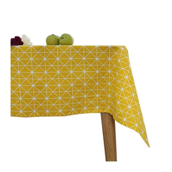 """ColorBird Geometric Series Tablecloth Diamond Pattern Cotton Linen Dust-Proof Table Cover for Kitchen Dinning Tabletop Linen Decor (Rectangle/Oblong, 55 x 102Inch, Yellow) - Delicate Printing: Featuring classic geometric diamond pattern on high quality cotton linen, this ColorBird elegant modern tablecloth will make your meal time more luxurious Super Soft Fabric: 100% cotton linen, eco-friendly/stain resistant; Measures 55"""" Width x 102"""" Length (140 x 260 cm), size deviation is between 1 to 2 inch Easy to Care: Machine washable, hand wash best; Hang to dry; Low iron; Don't bleach - tablecloths, kitchen-dining-room-table-linens, kitchen-dining-room - 51rGRvO2yEL. SS570  -"""