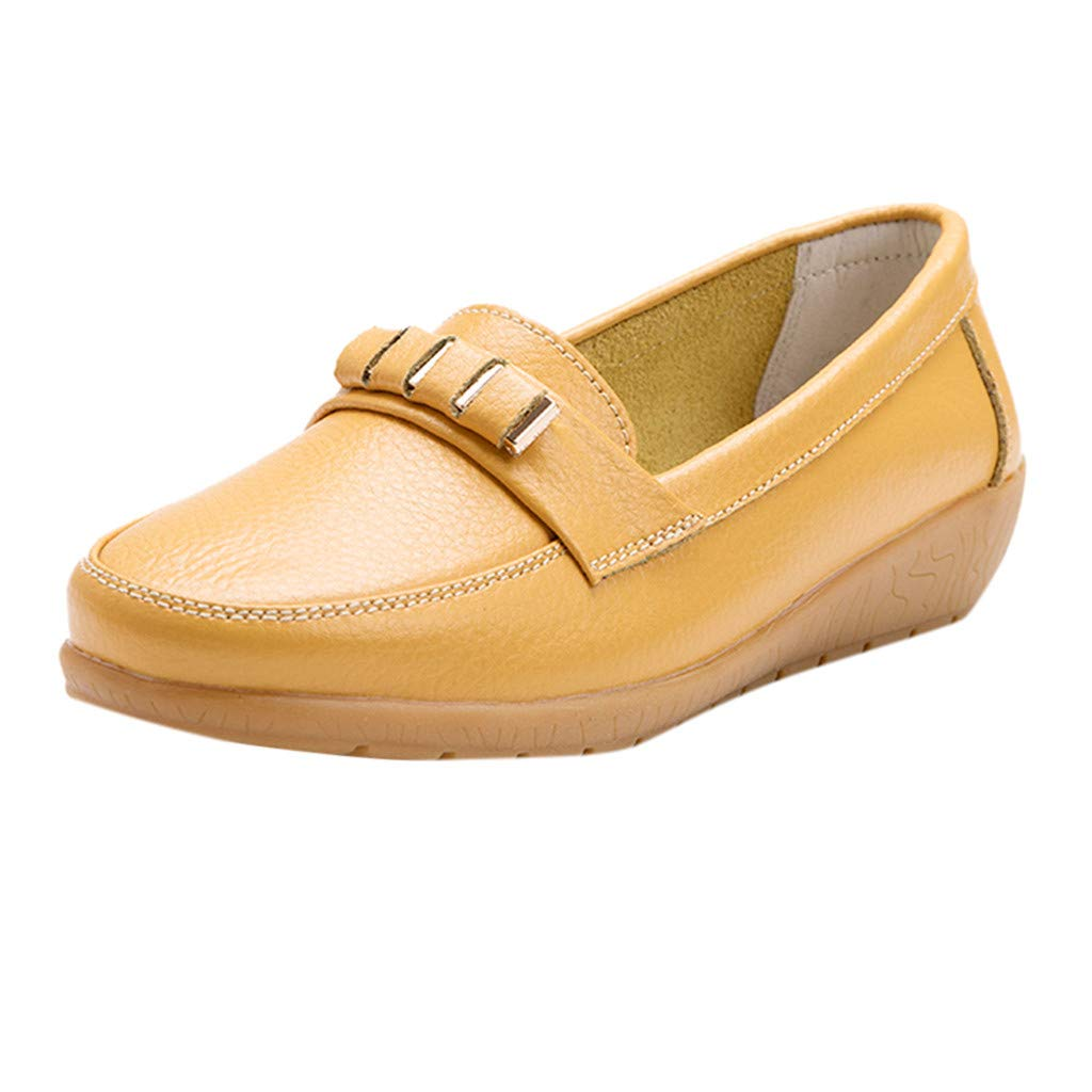 Women Classic Loafers Casual Driver Moccasins Boat Slip On Flats Loafer Shoes Summer Penny Wild Round Walking Shoe (Yellow, US:9)