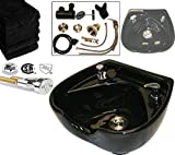 LCL Beauty Heart Shaped Heavy Duty CERAMIC Professional Black Shampoo Bowl w/ Vacuum Breaker and 6 black Salon Quality Towels