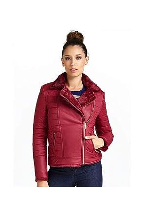 5dcd9978fe1 Guess Blouson Reversible Fausse Fourrure Femme W84l90 Rouge Bordeaux -  Taille - XL
