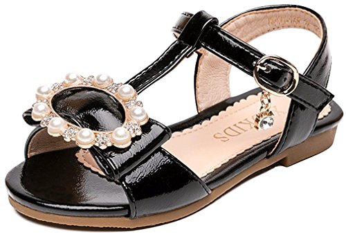 VECJUNIA Girl's Sandals T-Strap Bows Pearls Dressy Shoes for Special Ocassions (Black, 13.5 M US Little Kid)