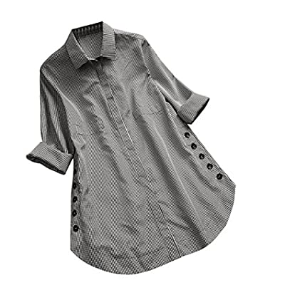 iYYVV Women's Long Sleeve Plaid Button Down Casual Top Shirt Loose Plus Size Blouse